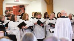 Choir singing in Barn